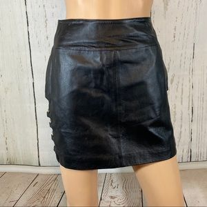 Wilson Leather Skirt Side Cut Out Metal Ring Sexy